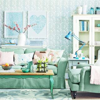 小清新蓝色客厅壁纸效果图