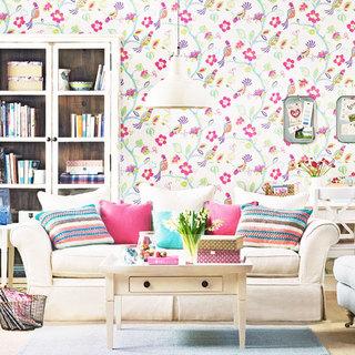 时尚粉色客厅壁纸效果图