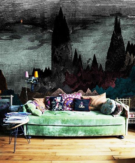 另类灰色客厅壁纸效果图