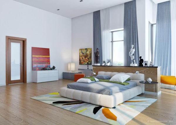 蓝色卧室窗帘窗帘图片