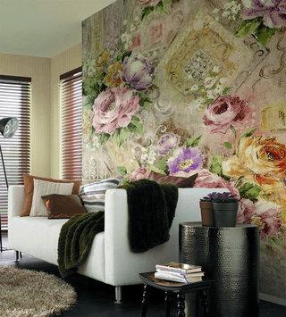 欧式风格时尚手绘墙效果图