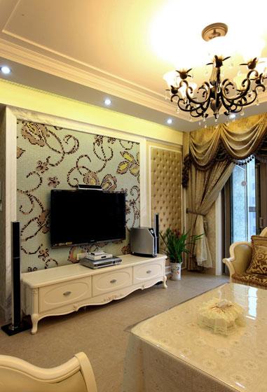 田园风格三居室温馨电视背景墙设计