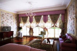 田园风格紫色卧室窗帘窗帘效果图