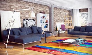 舒适原木色客厅地板效果图