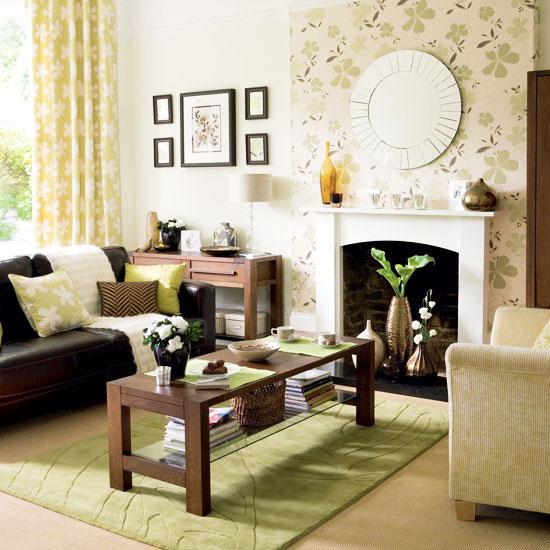 小清新黄色客厅壁纸效果图