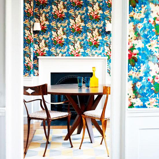 简欧风格蓝色餐厅壁纸图片