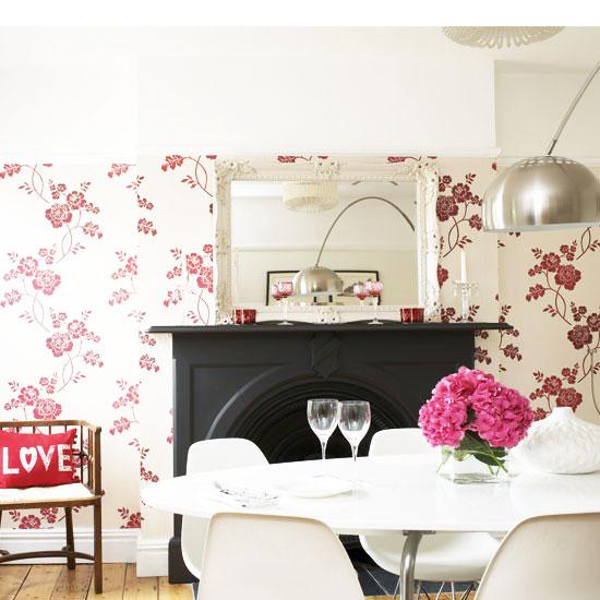 简欧风格粉色餐厅壁纸图片