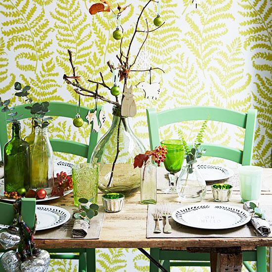 简欧风格绿色餐厅壁纸效果图