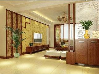 中式风格原木色客厅效果图