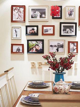 美式风格白色餐厅背景墙效果图