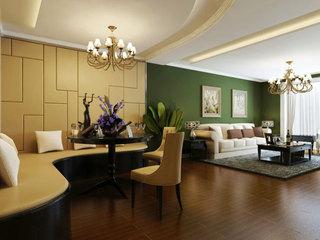 美式风格黄色餐厅背景墙装修效果图