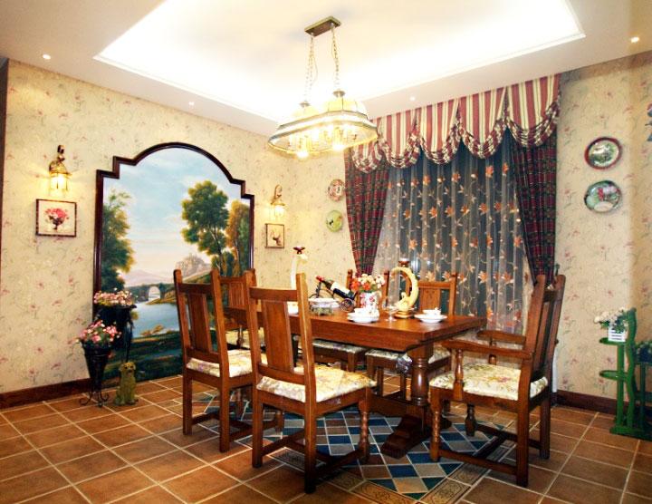美式风格黄色餐厅背景墙效果图图片