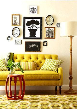 欧式风格温馨黄色客厅效果图