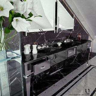 现代简约风格豪华卫生间洗手台效果图