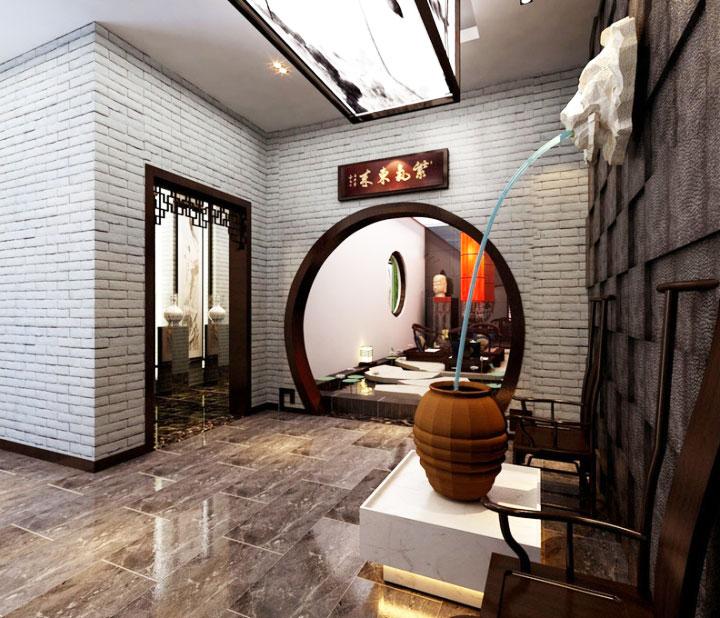 中式风格白色过道装修效果图