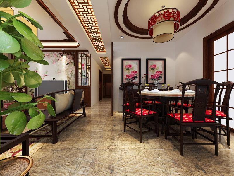 5 10万90平米古典三居室装修效果图,炫彩中国风装修案例效果图 齐高清图片
