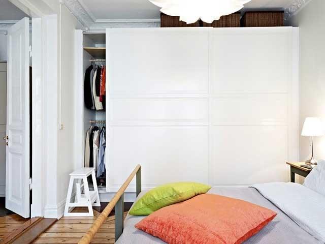 白色北欧风格卧室衣柜设计高清图片