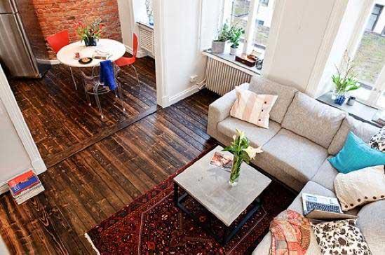 深色实木地板客厅效果图