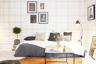 格子卧室壁纸装修效果图
