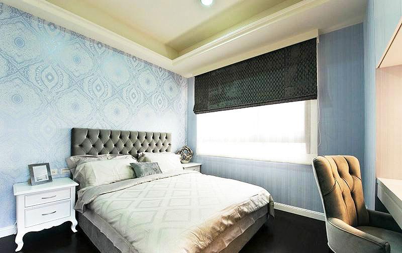 蓝色卧室壁纸装修效果图
