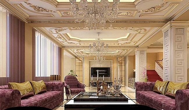 圆形欧式客厅吊顶效果图图片
