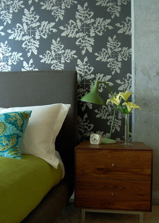 灰色壁纸卧室效果图