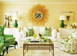 黄色小客厅背景墙装修效果图