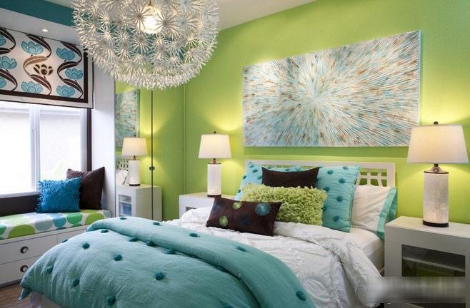 美式绿色卧室背景墙设计