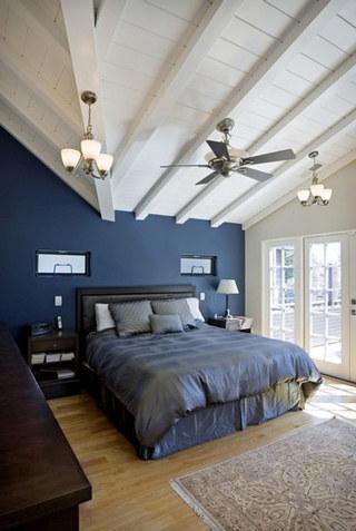 蓝色白色美式卧室效果图