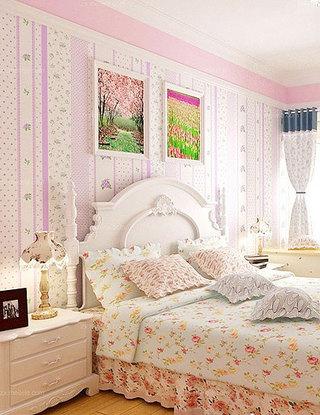 紫色田园壁纸卧室效果图