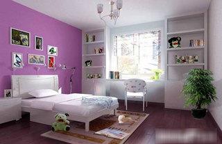 紫色白色卧室效果图