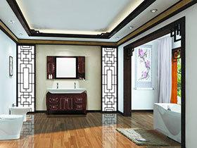 古典中式浴室欣赏 13张红色浴室柜效果图