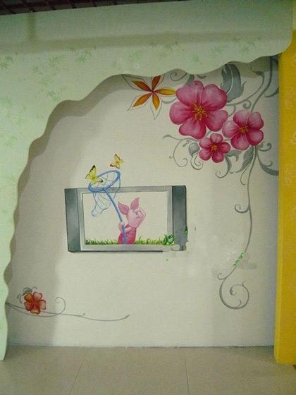 简单可爱手绘电视背景墙效果图