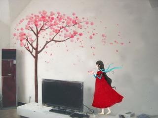 红色白色电视背景墙手绘墙效果图