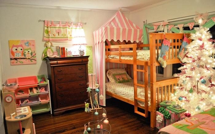 可爱田园实木双层儿童床效果图
