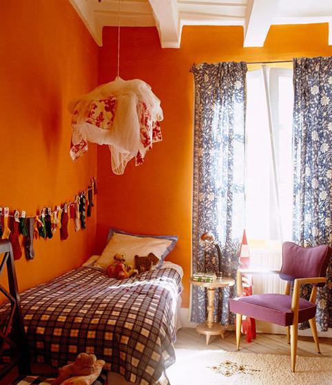 橙色暖色调儿童房效果图