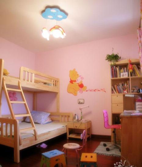 粉色实木儿童床效果图
