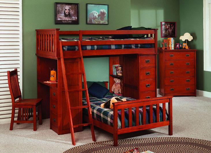 红棕色实木儿童床效果图