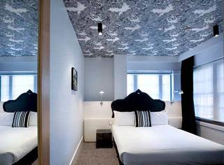 黑白灰简约卧室吊顶效果图