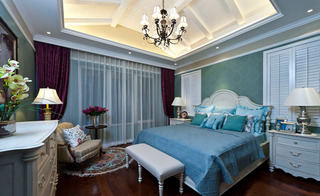 欧式优雅白色卧室吊顶效果图