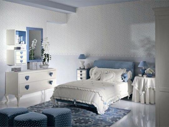 蓝白优雅卧室效果图