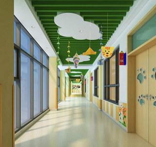 幼儿园走廊绿色吊顶效果图