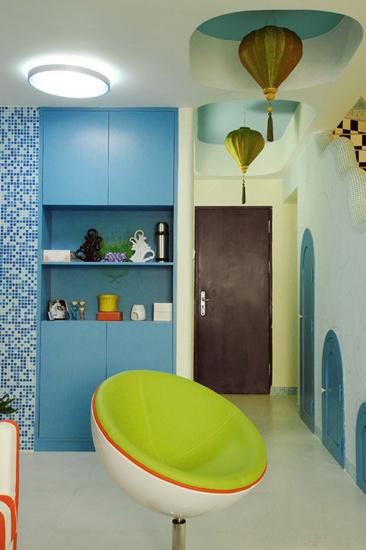 海蓝色玄关柜展示柜效果图