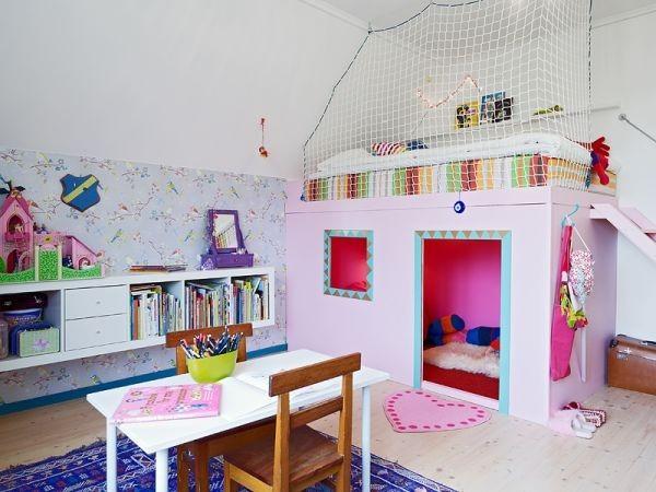 可爱粉色儿童床效果图