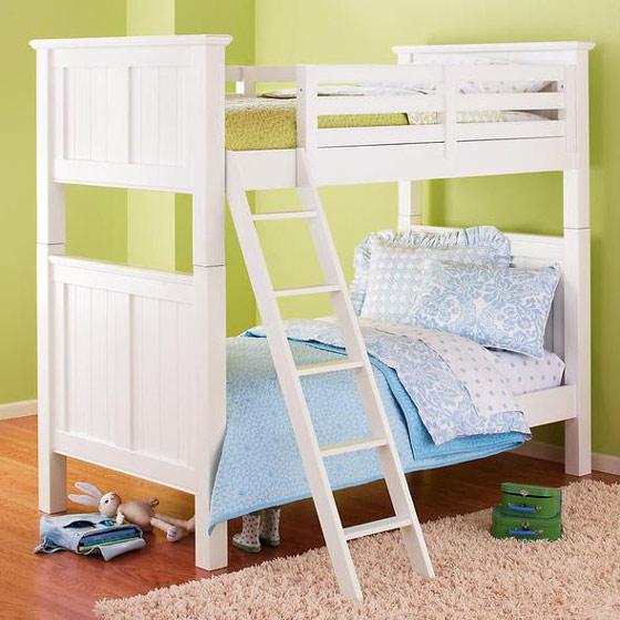 白色双层儿童床效果图
