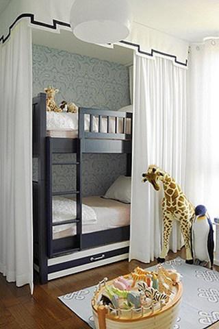 美式深蓝色双层儿童床效果图