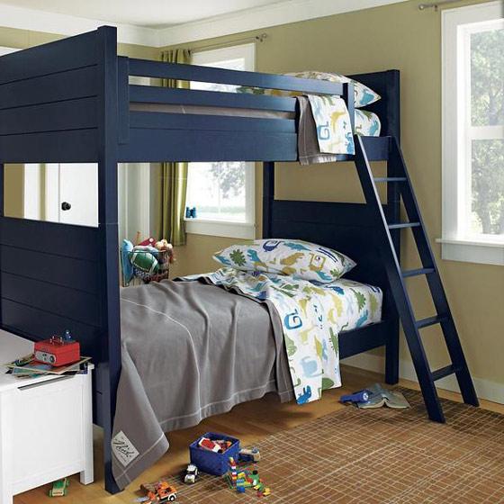 深蓝色双层儿童床效果图