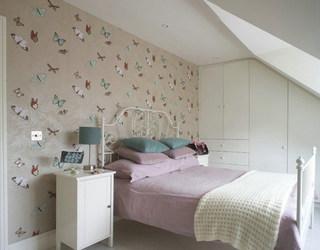 北欧清新紫色白色卧室效果图