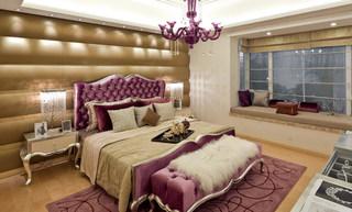 欧式卡其色紫色卧室效果图