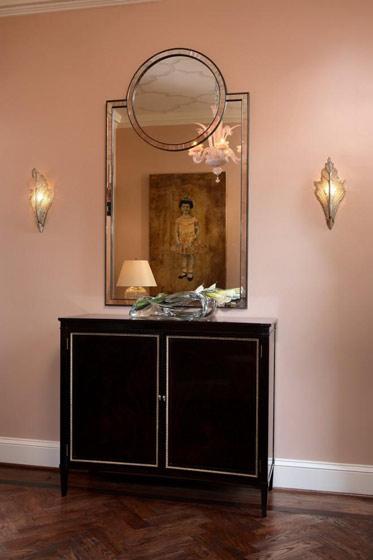 带镜子黑色玄关柜效果图